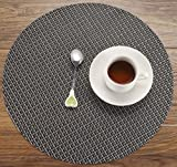 HYSENM Set of 4 Mediterranean Style Cross Weave Heat Insulation Easy Clean Dining Kitchen Round Placemats, black