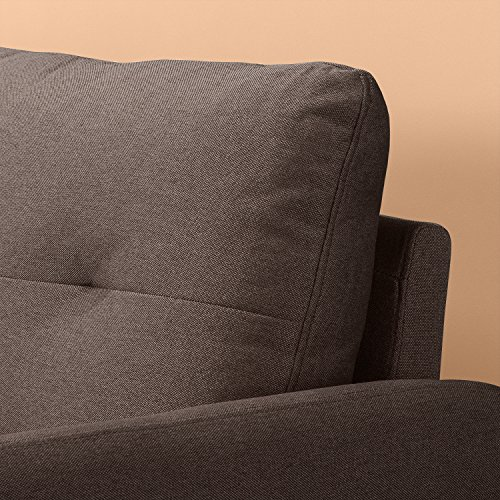 Zinus Contemporary Upholstered 62in Sofa Couch/Loveseat, Chestnut Brown