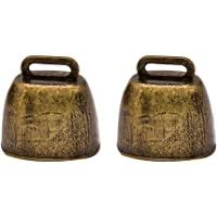 Toddmomy 2Pcs Mini Cow Horse Sheep Grazing Bells Cattle Farm Animal Copper Loud Bronze Bell Metal Cowbells Mini Call…