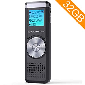 32GB Digital Voice Recorder,TENSAFEE Dictaphone Sound Activated Recorder, Portable Rechargeable HD Audio Recorder,MP3 Player/A-B Repeat,Voice Recorders for Lectures/Meetings/Interviews/Class