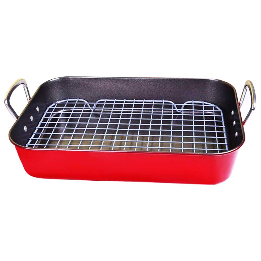 Roasting Pan with Rack Large Stainless Steel for Turkey Deep Nonstick 15inch Oven Safe Red