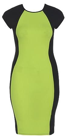 CHOCOLATE PICKLE New Womens Plus Size Neon Contrast Color Block Bodycon  Midi Dress (Lemon, 12)