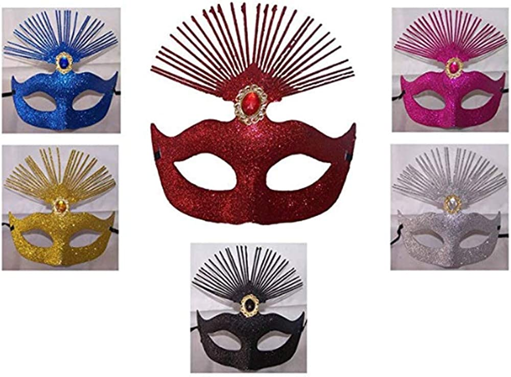 Masquerade Party Halloween Quinceanera Masks feathers Wholesale 6Pcs Mask6 Z