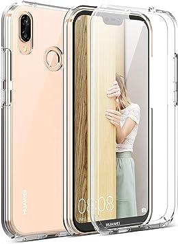 Leathlux Souple Silicone /Étui Protection Bumper Housse Clair Doux TPU Gel Case Cover pour Huawei P20 Lite 5.84 Verre tremp/é /Écran Protecteur Coque Huawei P20 Lite Transparente