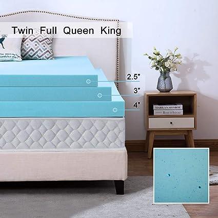 Mattress Topper 2.5/'/' 3/'/' 4/'/' Gel-Infused Memory Foam Ventilated Design Queen