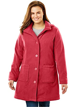 811ed7330a2 Woman Within Plus Size Hooded A-Line Fleece Jacket at Amazon Women s ...