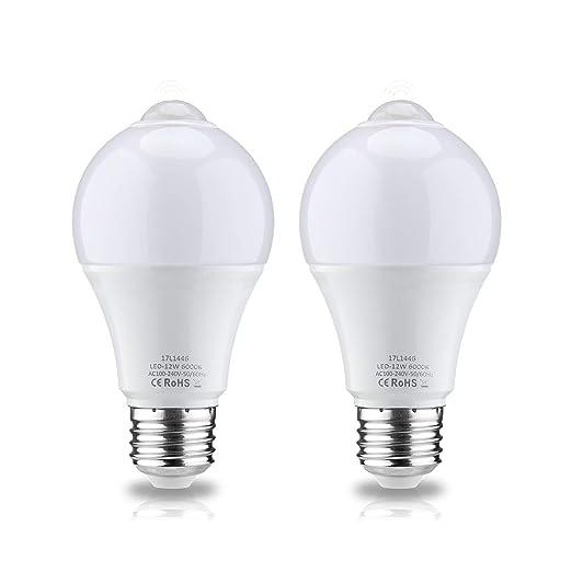 Leke PIR Sensor de movimiento de luz bombilla 12 W E26 Blanco 6000 K bombilla LED