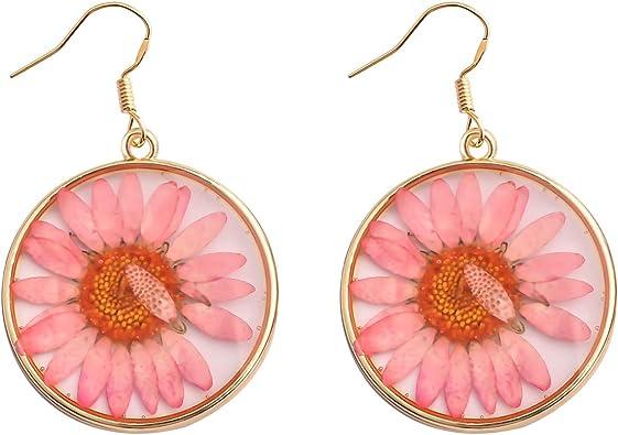 Handmade Dangly Oval Pink /'Retro/' Earrings with Hooks for Pierced Earrings