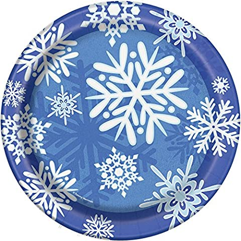 Winter Snowflake Holiday Dinner Plates, 8ct (Frozen Theme Food)