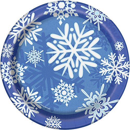 Winter Snowflake Holiday Dinner Plates, 8ct -