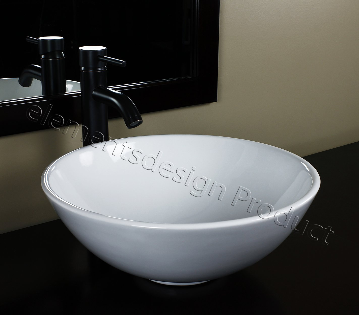 Bathroom Ceramic Porcelain Vessel Sink CV7226E3 Oil Bronze Faucet Drain