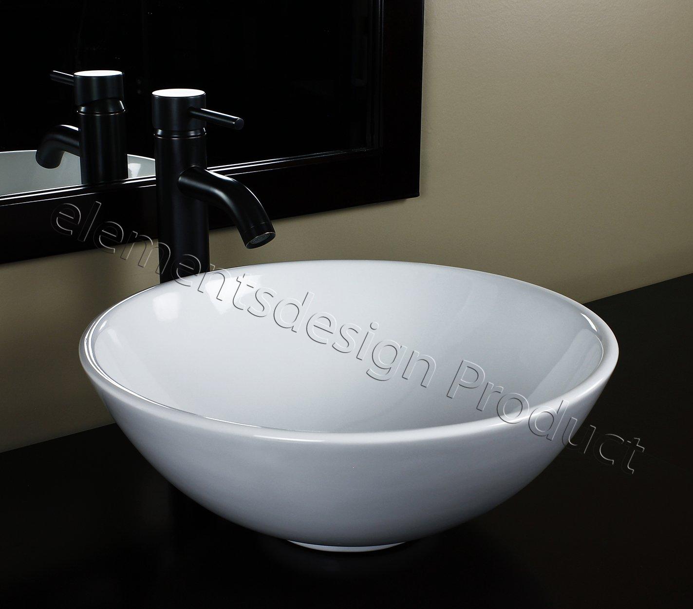 Bathroom Ceramic Porcelain Vessel Sink CV7226E3 Oil Bronze Faucet Drain by ELIMAX'S