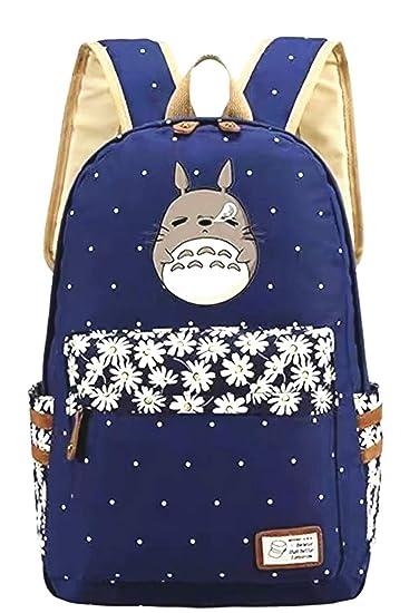 Anime My Neighbor Totoro Backpack Cosplay Canvas Bookbag Rucksack School  Shoulder Bag (Blue 1) 66f4cdd8c1