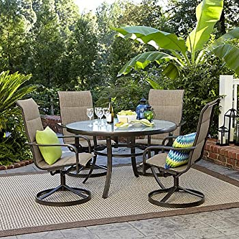 miranda 5 piece dining set includes 4 action chairs and a round dining table