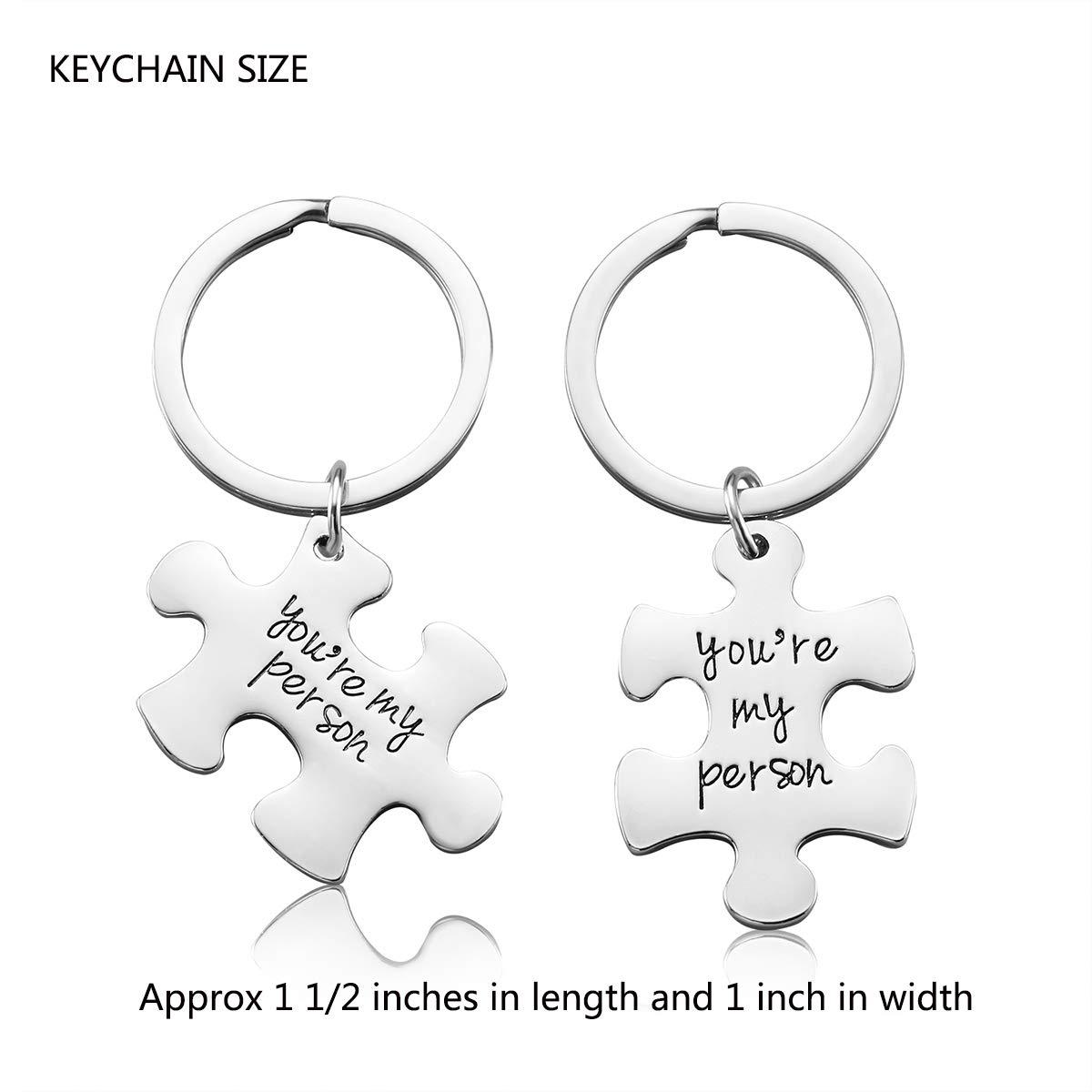 IWenSheng 2PCS You Are My Person Matching Keychain For Women Teen Girls Valentines Day Gift Boyfriend Girlfriend Birthday Gifts Best Friends