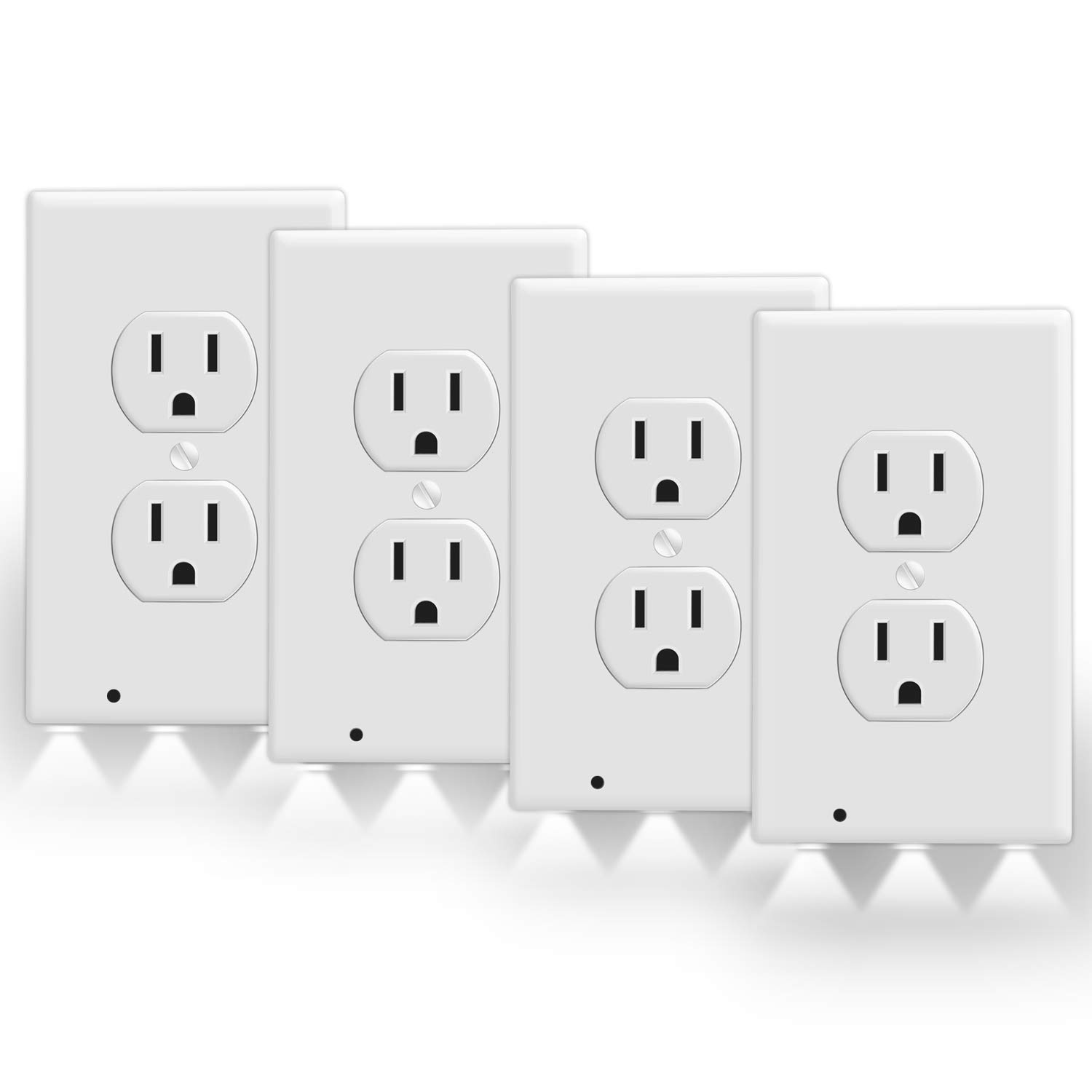 Dr.Fride Outlet Wall Plate With 3 LED Night Lights- No Batteries Or Wires, Pack of 4, White Guidelight Wall Plate Socket Cover for Stairs, Kids Bedroom, Bathroom, Hallway