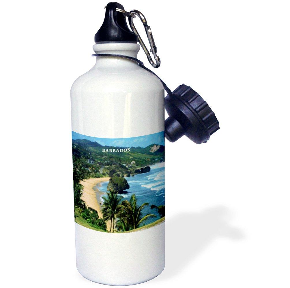 21 oz White 3dRose wb/_61994/_1Barbados Beach Sports Water Bottle