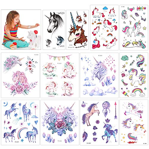 Konsait Unicorn Temporary Tattoos for Girls (130Assorted Glitter Tattoo), Rainbow Unicorn Party Supplies, Great Kids Birthday Party Bag Filler, Girls Party Favors Goody Bag Stuffers Carnival (Face Goody Bag)