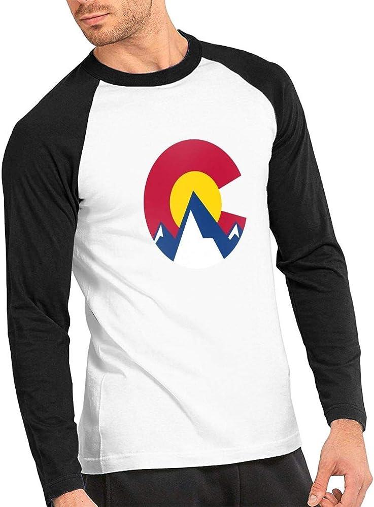 Camiseta clásica de Manga Larga para Hombre, Colorado Flag Mountain Mens Raglan T Shirts Long Sleeve Mens Baseball Tops: Amazon.es: Ropa y accesorios
