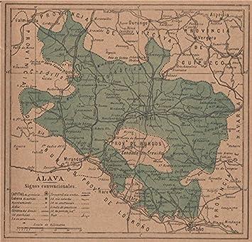 Álava Alava Araba. Vitoria Gasteiz. Euskadi. Mapa Antiguo de la Provincia – 1908 – Old Antiguo Mapa Vintage – Mapas de Impreso de España: Amazon.es: Hogar