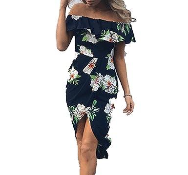 b4a012e853fd Women Chiffon Floral Printed Ruffled Asymmetrical Slim Off Shoulder Party Streetwear  Dress