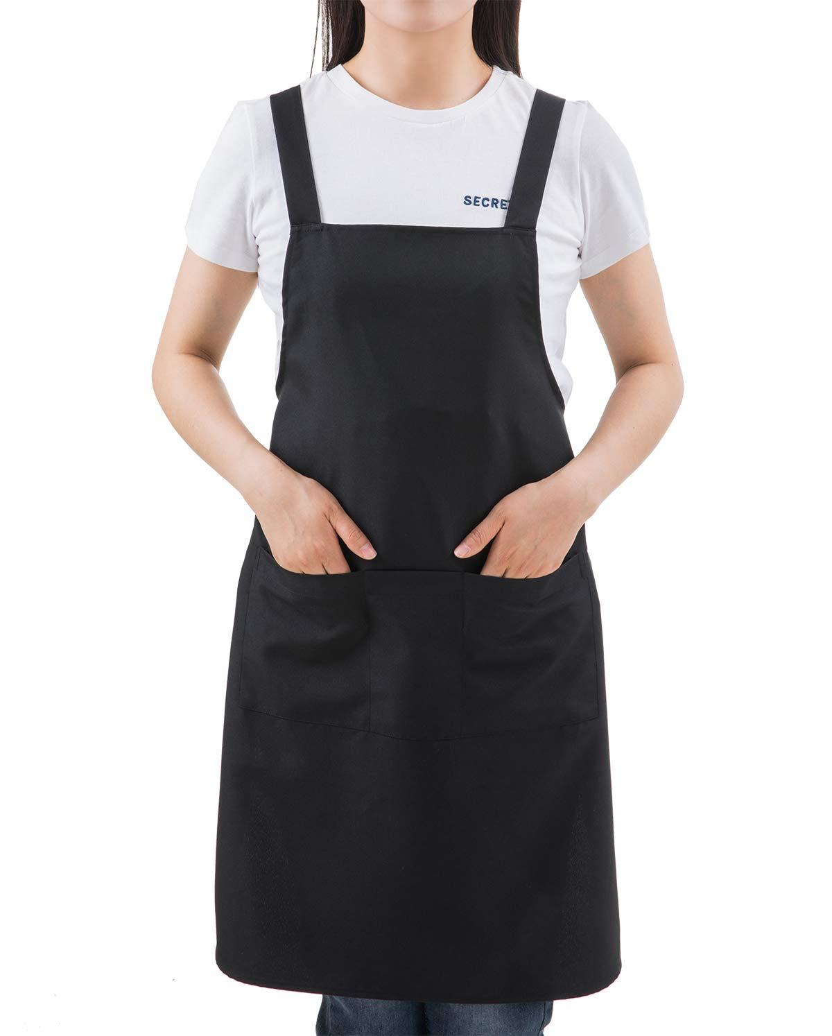 SEW UR LIFE ブラック プロ仕様 防水 プラスサイズ ビブ Hエプロン 3ポケット ホーム キッチン ガーデン レストラン カフェ バー パブ ベーカリー 料理用 シェフ ベーカー サーバー クラフト ユニセックス   B07GHBDT48