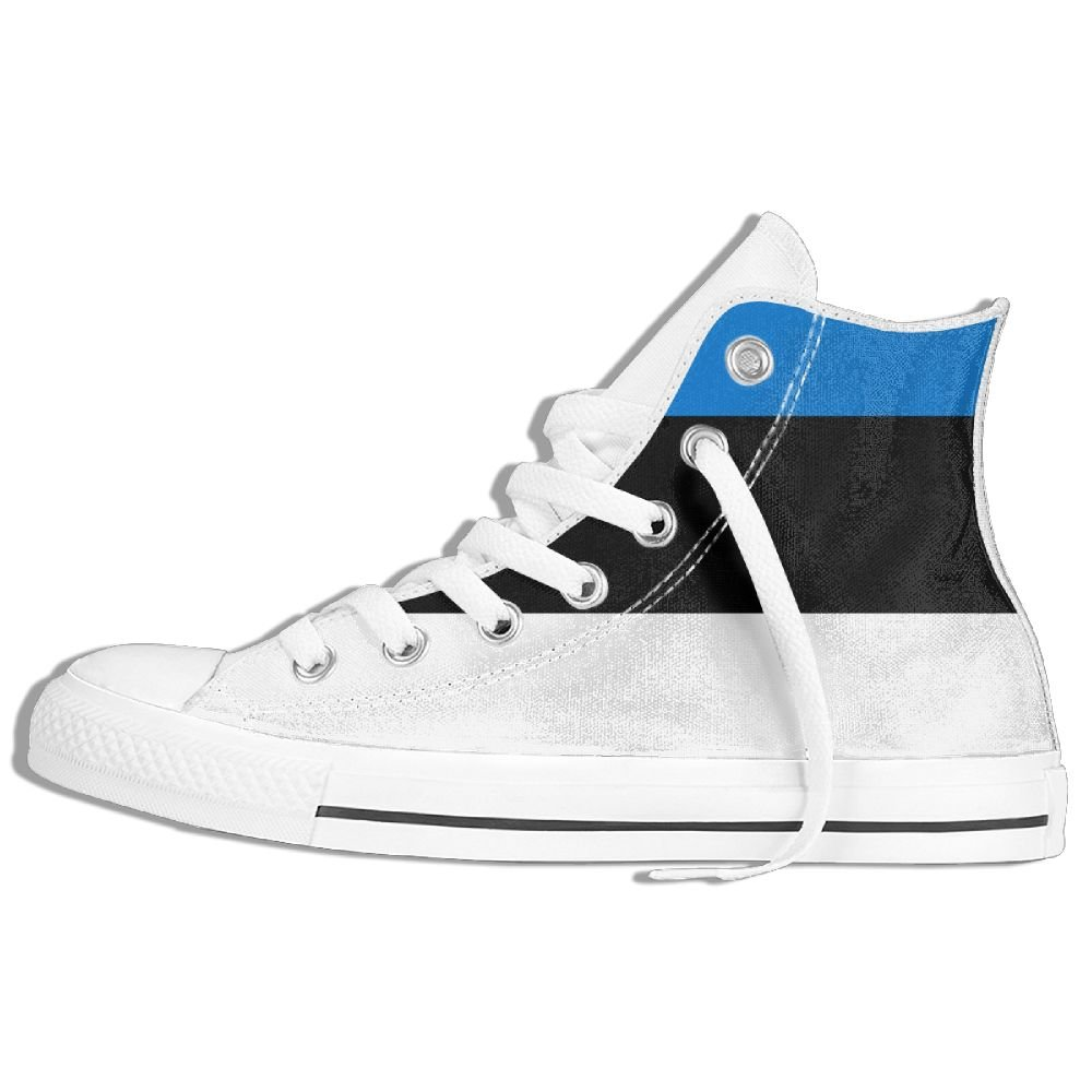 GoOutdoor Flag Of Estonia Comfortable High-top Canvas Shoes Lace-up Sneakers Unisex