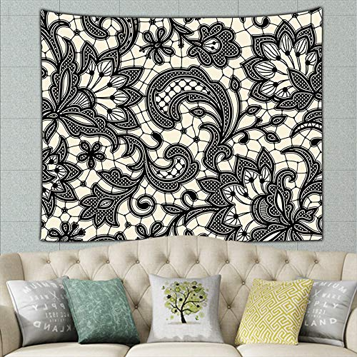 Black Lace Floral Vintage Tapestry Wall Tapestry Bohemian Wall Hanging Tapestries Wall Blanket Wall Art Wall Decor Beach Tapestry Tapestry Wall Decor 60 X 40 Inches