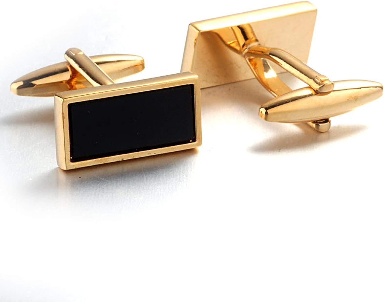 Daesar Manschettenknopf Hemd Gold Rechteck Schwarz Stein Hochzeit Herren Manschettenkn/öpfe Edelstahl mit Geschenk Box
