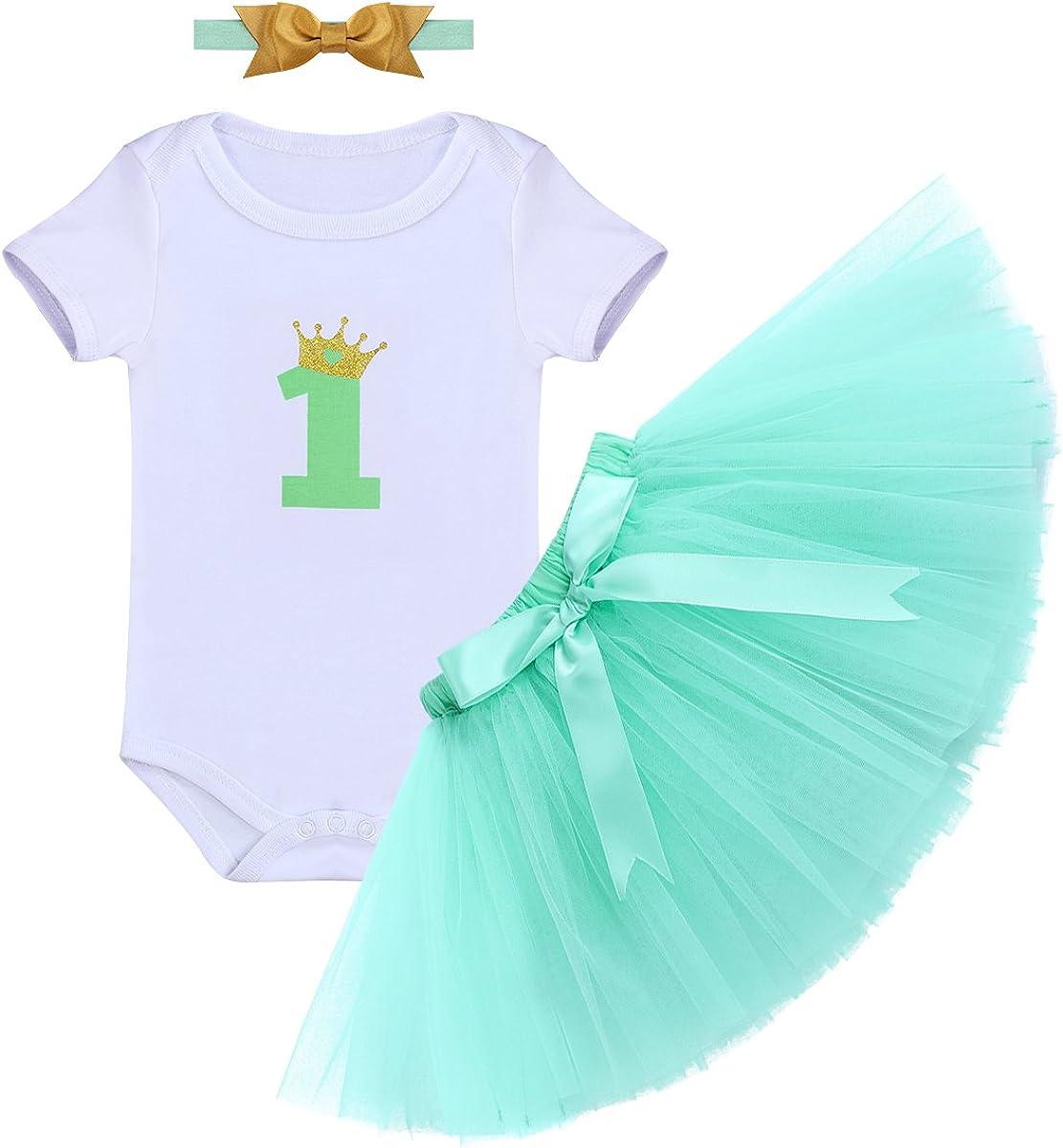 Baby Girl First 1st Birthday Tutu Skirt Dress Headband Set Cake Smash Party UK