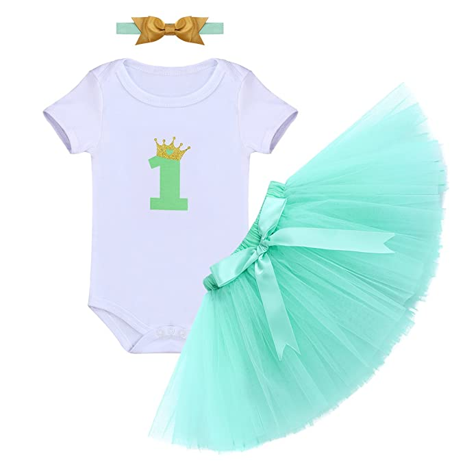 f4989cee5 FYMNSI Newborn Infant Toddler Baby Girl 1st Birthday Outfit Crown One  Romper Tutu Skirt Bow Headband