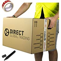10 Strong Extra Large Cardboard Storage Packing Moving House Boxes Double Walled with Carry Handles and Room List Free Quality Fragile Tape and Black Marker Pen 60cm x 45cm x 40cm 24'' x 18'' x 16'' 108 Litre Capacity