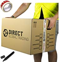 10 Strong Extra Large Cardboard Storage Packing Moving House Boxes Double Walled with Carry Handles and Room List Free Quality Fragile Tape and Black Marker 60cm x 45cm x 40cm 24'' x 18'' x 16''