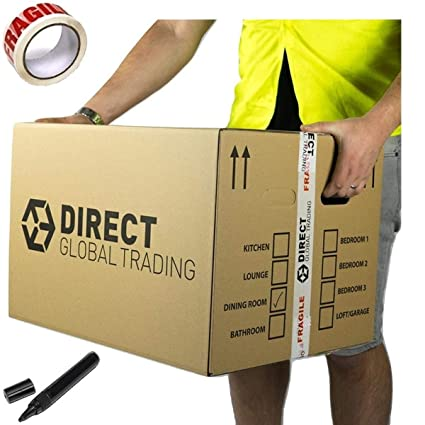 d184657db3d 10 Strong Extra Large Cardboard Storage Packing Moving House Boxes Double  Walled with Carry Handles and ...