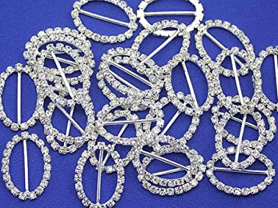 20x28mm Oval Crystal Rhinestone Buckles For Card Making and DIY Wedding Invitations - 10/CNT