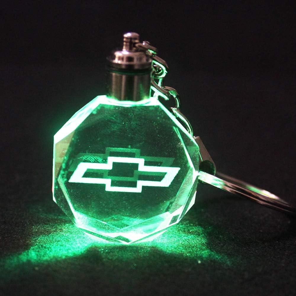 VILLSION LED Schl/üsselanh/änger Auto Logo Key Chain Mehrfarbig Kristall Licht Umfassen Geschenkbox