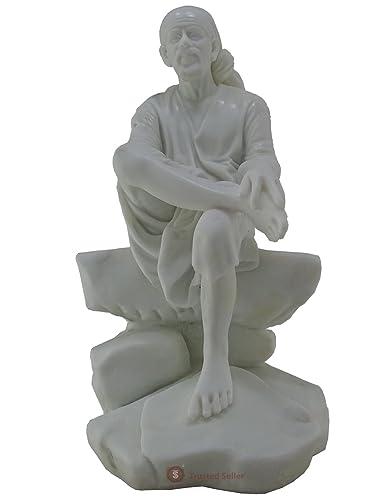 9 Shirdi Sai Baba Statue Handmade of White Poly Marble Home Decor Art Best Gift