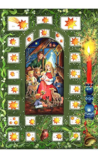 Children's Nativity with Green Star Bordered Windows Advent Calendar Approx 8.25