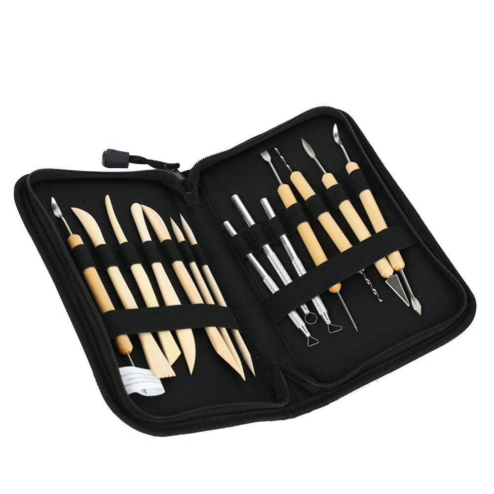 ANJUY Clay Color Shaping Modeling Wipe Out Tools,Carving Tools Rock Painting for Sculpture Pottery,14PCS/Set