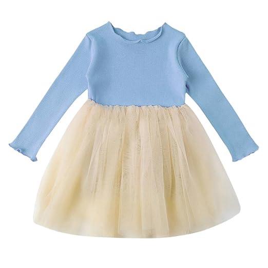 14f0b32990 Gotd Infant Toddler Baby Girl Long Sleeve Cotton Tops Tutu Skirt Party  Princess Dress (Blue
