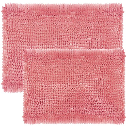 Sweet Home Collection Chen-2PCRUG-Pnk Chenille Noodle Bathroom Rug Set (2 Piece), Pink, 2 (Sets Rug Pink Bathroom)