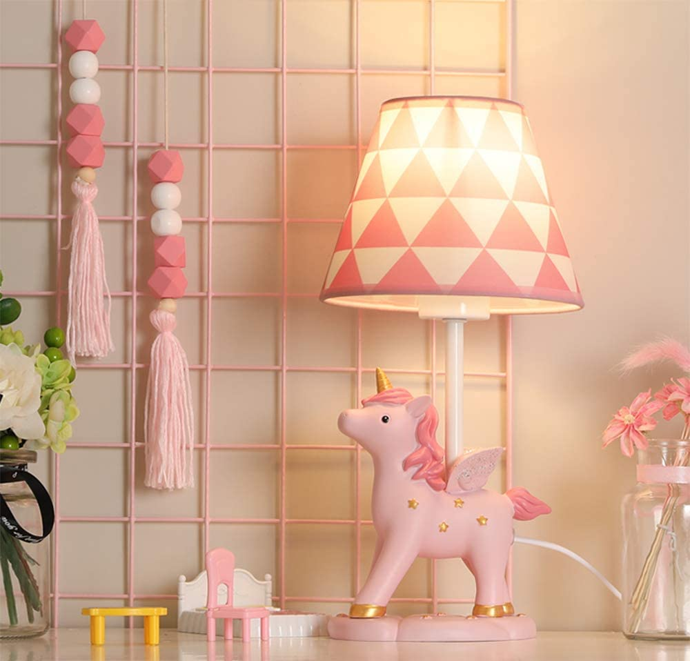 LITFAD Modern Bedside Table Lamp Girl Bedroom Unicorn Desk Light Resin 1 Light Animal Pink LED Reading Lamp with Plug in Cord for Bedroom Kids Room Office - Triangle