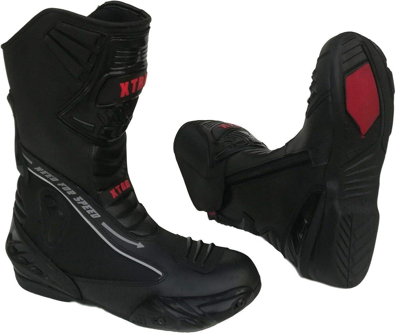 XTRM Bottes de Moto pour Adulte Evo Semi Racing Heavy Duty Moto Rider Hommes /& Femmes Protection Armure Cuir Bottes de Sport Noir