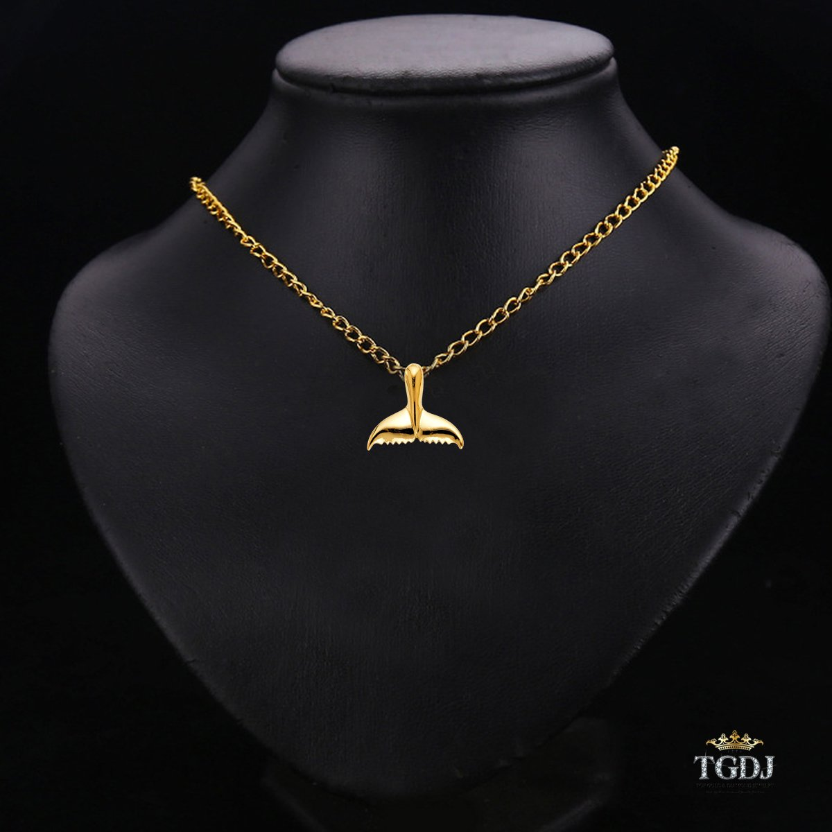 TGDJ 14K Yellow Gold Tail of Dolphin Pendant