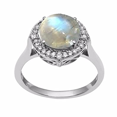 Shine Jewel 925 Silver Round Cut Moonstone Studded Engagement Ring