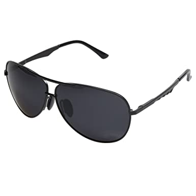 mens black aviator sunglasses upzm  Aoron庐 Aviator Polarized Sunglasses for Men Black Frame