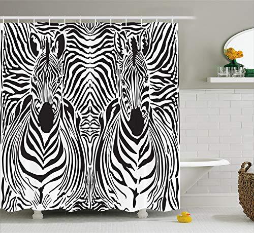Ambesonne Zebra Print Shower Curtain, Illustration Pattern Zebras Skins Background Blended Over Zebra Body Heads, Cloth Fabric Bathroom Decor Set with Hooks, 84