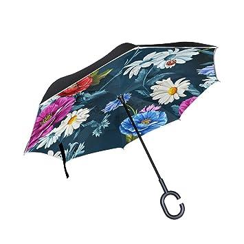 Colorido Flores Vintage Inverso Reverso Paraguas Resistente al Viento Doble Capa, Mango C, Protección