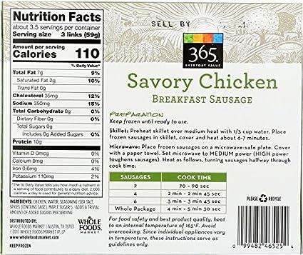 365 Everyday Value Savory Chicken Breakfast Sausage Frozen 10