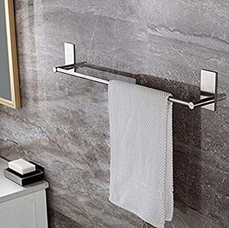 Brushed Stainless Steel Finish TOGU 15.7 inch Self Adhesive Single Towel Bar Heavy Duty SUS 304 Stainless Steel Towel Rail Stick on Bathroom Kitchen For Hanging Towels